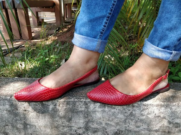 Sapatilha Aberta Vermelha- Mary Esteves