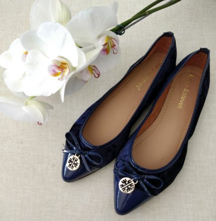 Sapatilha Azul Veludo - Mary Esteves