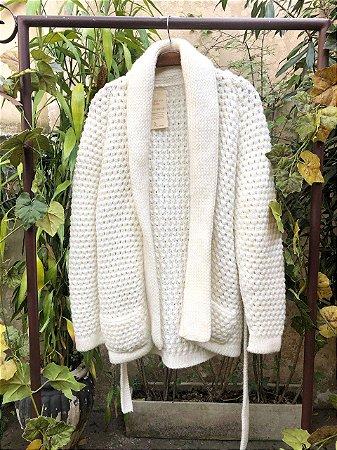 Casaco crochê feito a mão vintage