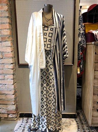 Kimono Longo Branco/Listrado