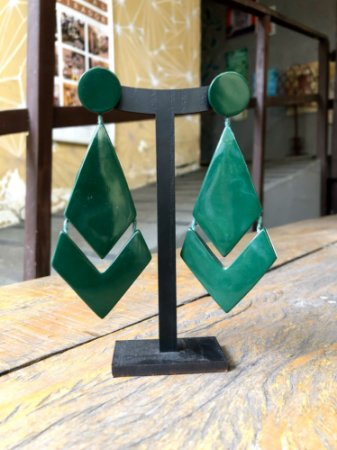 Brinco Acrilico Losango Verde