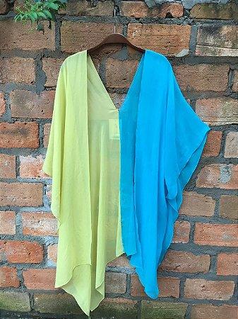 Kimono seda azul e amarelo