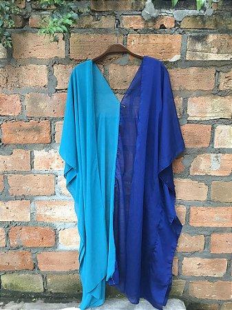 Kimono customizado bicolor tons de azul