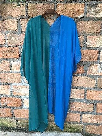 Kimono bicolor de seda azul e verde