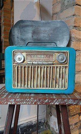 Cofre de rádio vintage azul