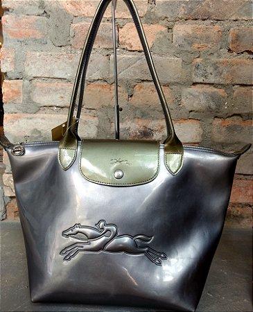 Bolsa couro cinza Longchamp