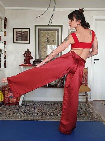 Calça pantalona de seda vermelha 38