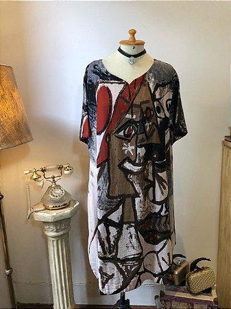 Vestido de linho Artsy (veste P ao GG)