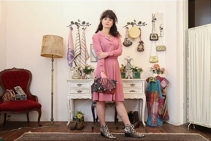 Vestido midi vintage lã rosa M