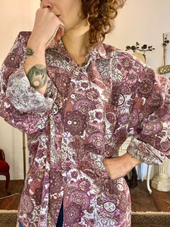 Camisa vintage veludo estampada (5)