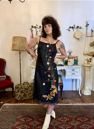 Vestido vintage midi de organza M