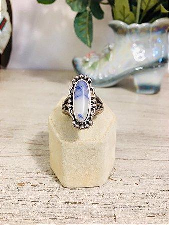 Anel prateado Vintage com Pedra branca