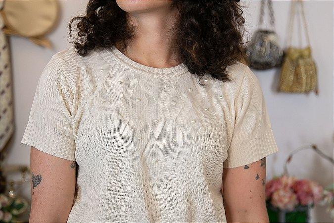 T-shirt tricot com pérolas (M)