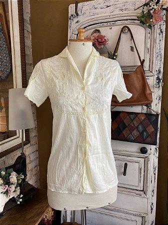 Camisa manga curta vintage bordada (42)
