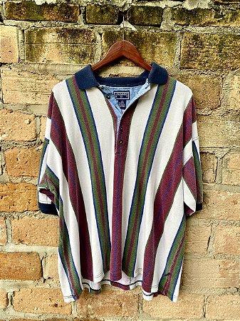 Camisa polo vintage listrada oversized G