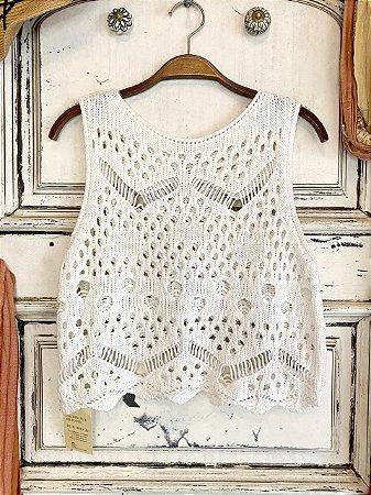 Blusa Regata Crochê branca (M)