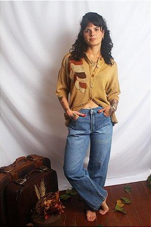 Blusa vintage tricot e suede