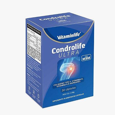 Condrolife Ultra - 40mg Colágeno Tipo II + 450mg MSM + Manganês + Vitamina D + Vitamina K - 30 cápsulas
