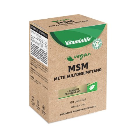 Vegan - MSM (Metilsulfonilmetano + Malato de Magnésio) - 60 cápsulas