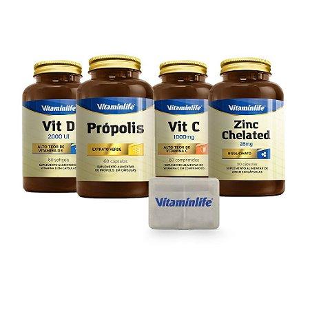 KIT IMUNIDADE: Própolis 60 cáps + Vitamina C 1000mg 60 comprimidos + Vitamina D 2000 UI 60 cáps + Zinco 28mg 90 cáps  + Porta Cápsulas GRÁTIS