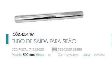 Tubo de Saída Longo 50 cm para Sifão Lavatório 1680C / Slim 1684C Cód. 4204161 Deca