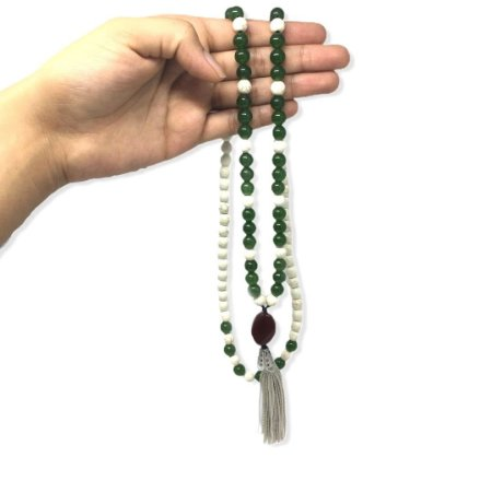 Japamala de quartzo verde e howlita 108 contas