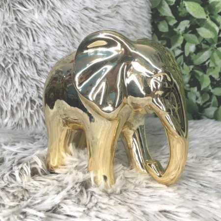 Elefante de cerâmica ouro G
