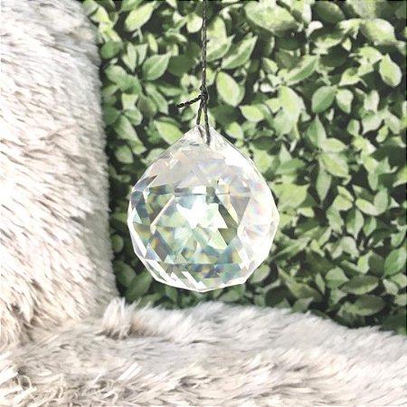 Esfera facetada de cristal de vidro 40mm