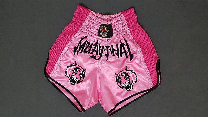 Calção Muay Thai Tigre Rosa Modelo Retrô Nakmuaynavarros