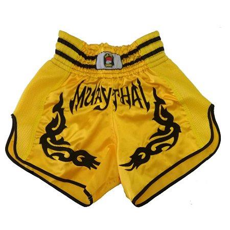 Calção Muay Thai Amarelo Tribal Preto Modelo Retrô Nakmuaynavarros