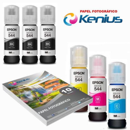 Kit Refil 6 T544 L3150 + Papel Foto 10X15 10 Folhas Kenius