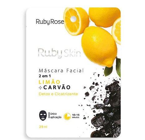 Máscara Facial de Tecido Limão e Carvão - Ruby Rose