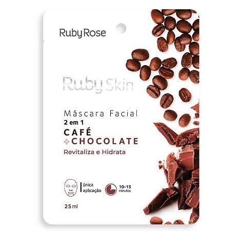 Máscara Facial de Tecido 2 em 1 Café e Chocolate - Ruby Rose