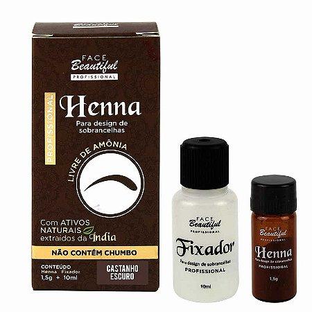 Henna para Sobrancelhas Castanho Escuro - Face Beautiful