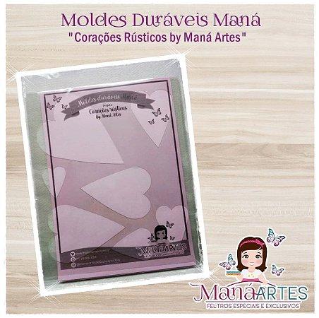 Moldes Duráveis - CORAÇÕES RÚSTICOS by Maná Artes
