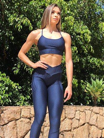 Calça Legging Carioca Fit Empina Bumbum Zig Azul Marinho