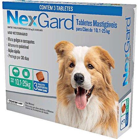 Antipulgas e Carrapatos NexGard 68 mg para Cães de 10,1 a 25 Kg- 3 tabletes