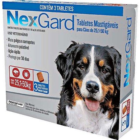 Antipulgas e Carrapatos NexGard 136 mg para Cães de 25,1 a 50 Kg- 3 tabletes