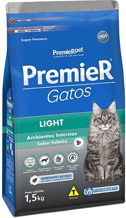 Ração Premier Pet Gatos Ambientes Internos Light Adultos Salmão