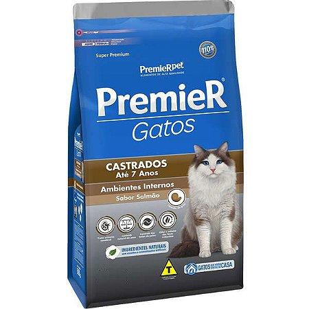 Ração Premier Pet Gatos Castrados até 7 anos Ambientes Internos Salmão