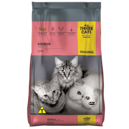 Ração Three Cats Premium Especial Original Adultos Sabor Carne