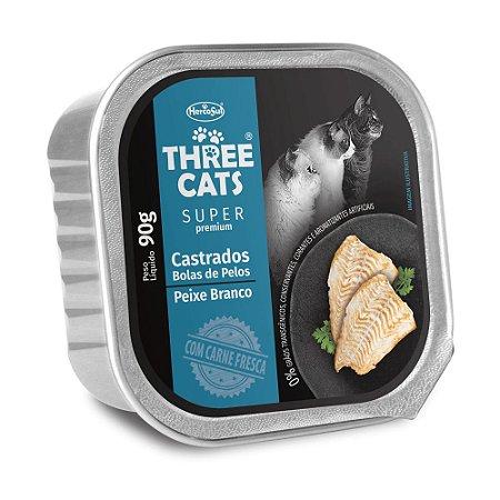 Patê Three Cats Super Premium Castrados Sabor Peixe Branco 90g