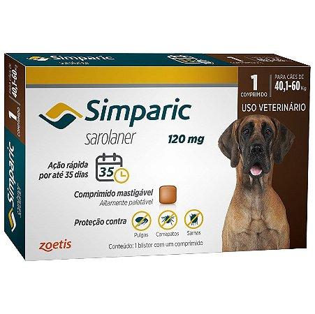 Antipulgas Simparic 120 mg para cães 40,1 a 60 kg - Zoetis