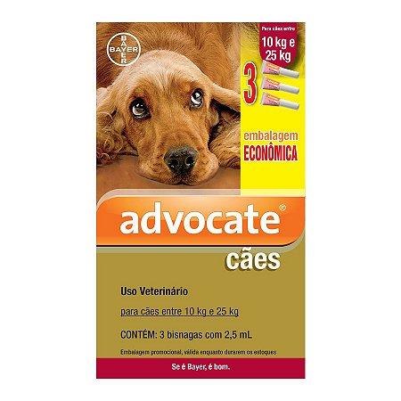 Antipulgas Advocate para Cães entre 10 e 25kg 2,5ml Embalagem Econômica
