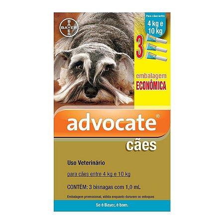 Antipulgas Advocate para Cães entre 4 e 10kg 1,0ml Embalagem Econômica