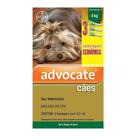 Antipulgas Advocate para Cães até 4 Kg 0,4 ml Embalagem Econômica