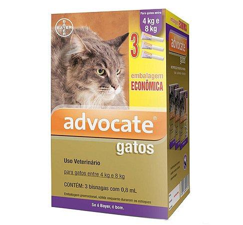 Antipulgas Advocate para Gatos entre 4 e 8kg 0,8ml Embalagem Econômica