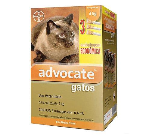 Antipulgas Advocate para Gatos de até 4kg 0,4ml Embalagem Econômica