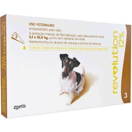 Antipulgas e Carrapatos Zoetis Revolution 12% para Cães de 5 a 10 Kg - 60 mg