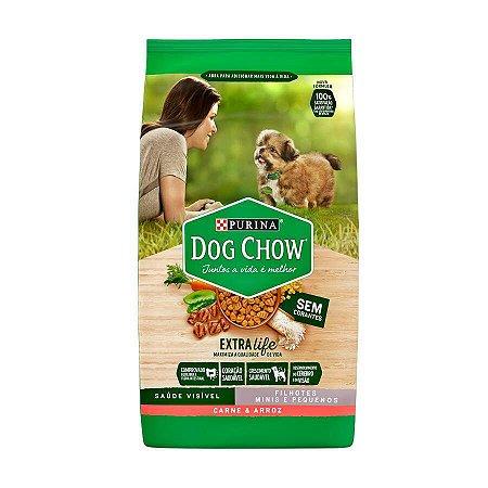 Ração Dog Chow para Cães Filhotes de Raças Pequenas Sabor Carne e Arroz